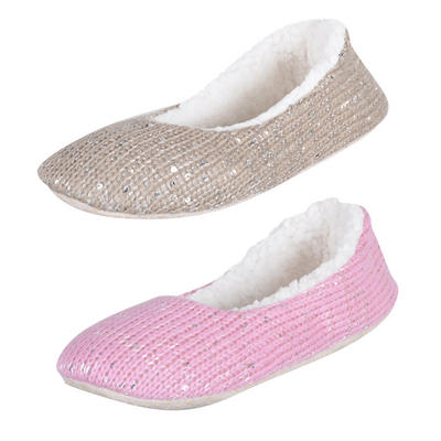 Ladies Knitted Ballet Sequin Slippers Fabric Non-Slip Sole