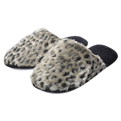 Ladies Faux Fur Grey Leopard Mule Slippers Hard Non-Slip Sole
