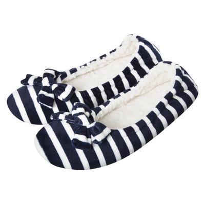 Ladies Navy & White Stripe Ballet Slippers Fabric Non-Slip Sole