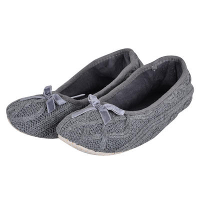 Ladies Grey Cable Knitted Ballet Slippers Fabric Non-Slip Sole