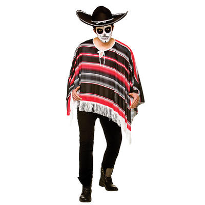 Mens Day Of The Dead Mexican Bandit Poncho Halloween Fancy Dress Accessory