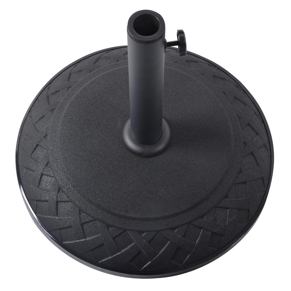 Umbrella Stand Black: 15kg Black Concrete Garden Parasol Base Round Umbrella Stand