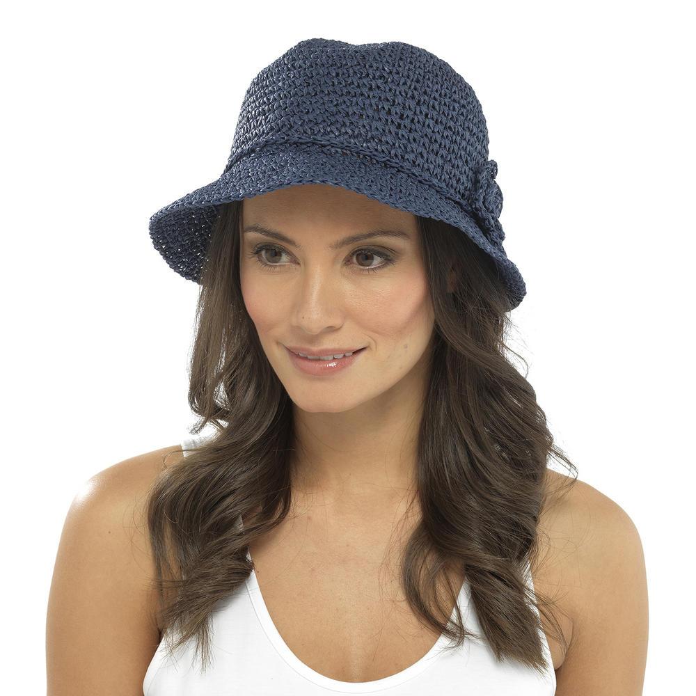 womens crochet style floppy hat woven paper straw flower