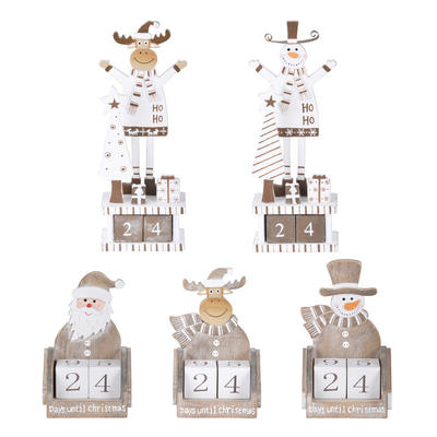 Wooden Block Days Until Christmas Countdown Calendar Decoration