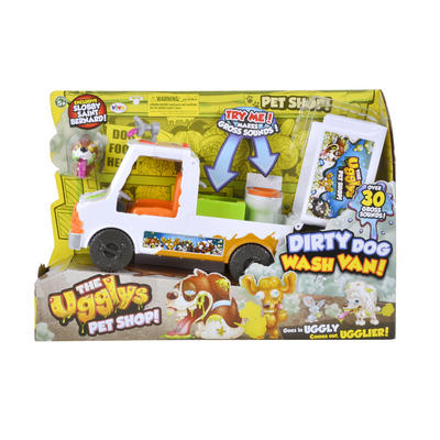 Ugglys Pet Shop Dirty Dog Wash Van Gross Sounds Pets Figures Toy
