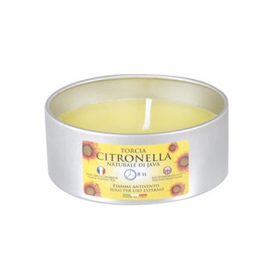 Large Citronella Scented Candle Metal Tin Outdoor Garden 8H