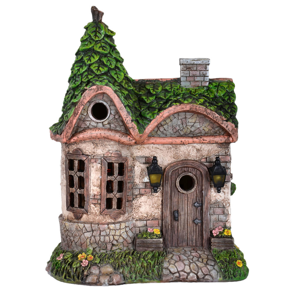 Solar powered house led garden ornament patio outdoor for Outside house ornaments