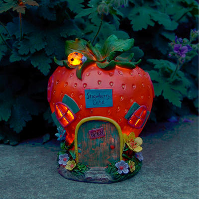 Solar Powered Strawberry Café LED Garden Ornament Patio Outdoor Decoration Light