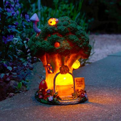 Solar Powered Broccoli Health Club LED Garden Ornament Patio Outdoor Light