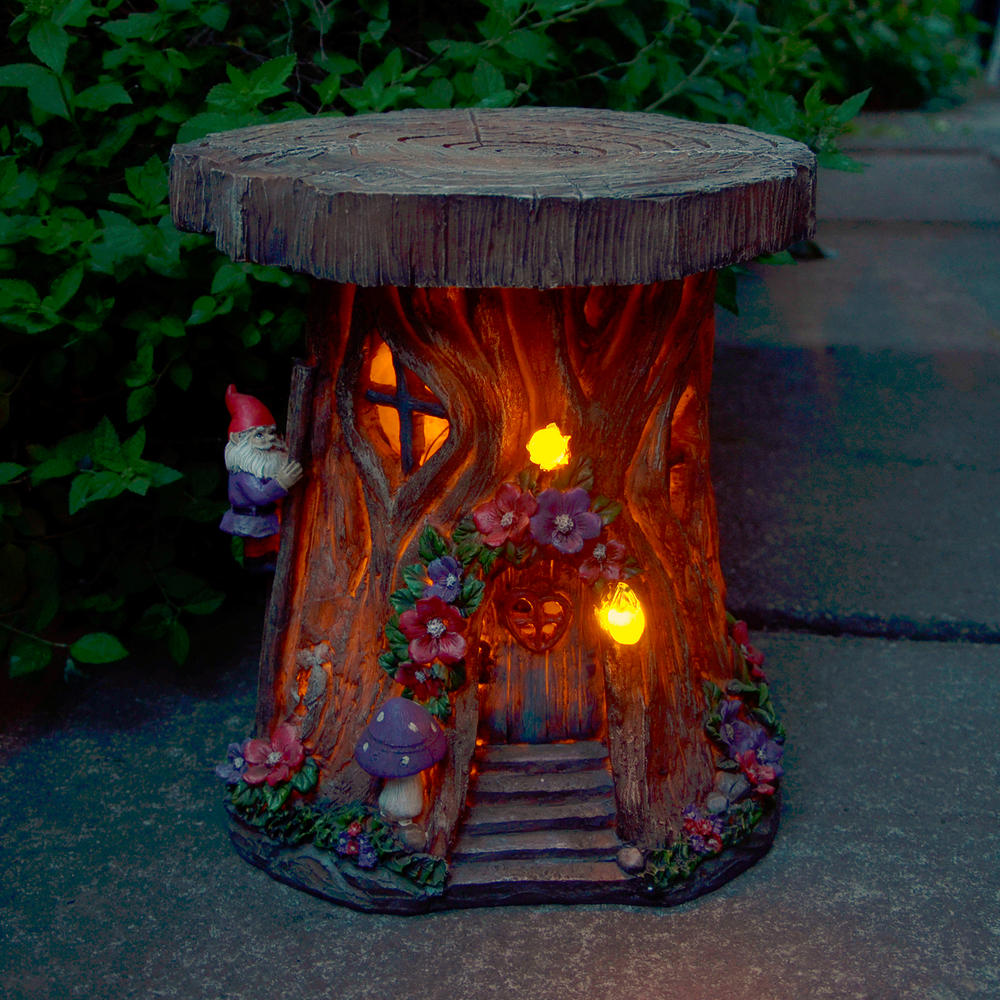 Solar powered tree house led garden ornament patio outdoor for Outside house ornaments