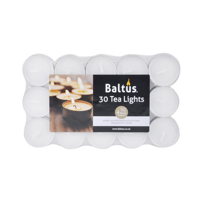 Baltus 30pk Tealights 4hr Burn Time Candles Fragrance Free