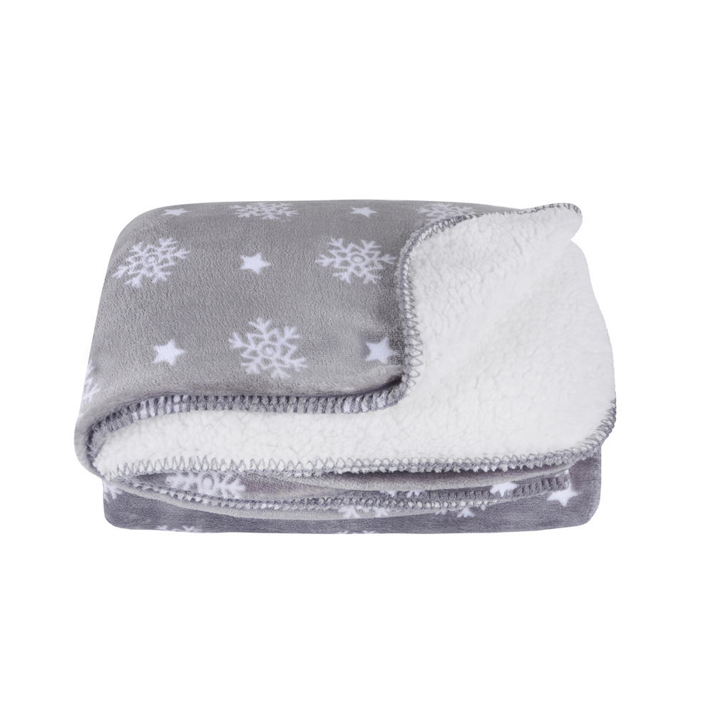 Snowflake sherpa lined fleece blanket throw soft 150 x 200cm for Soft blankets and throws