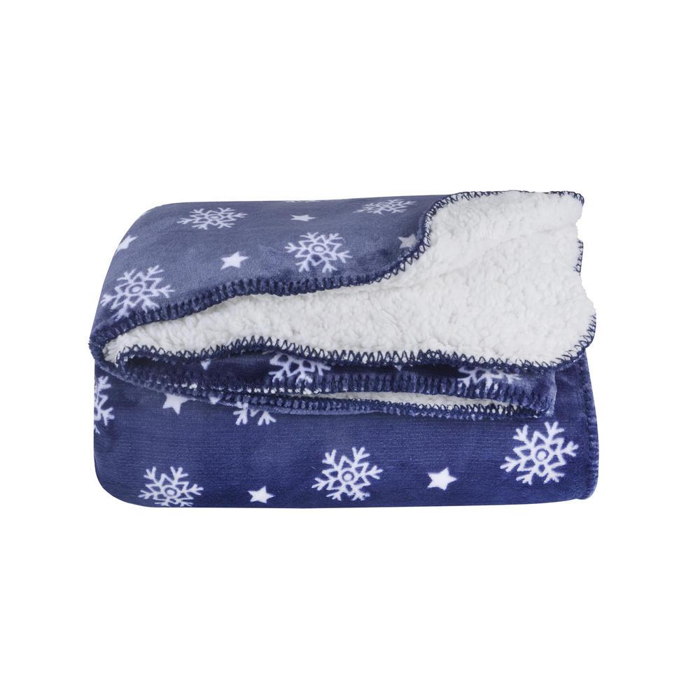 Snowflake Sherpa Lined Fleece Blanket Throw Soft 150 X 200cm