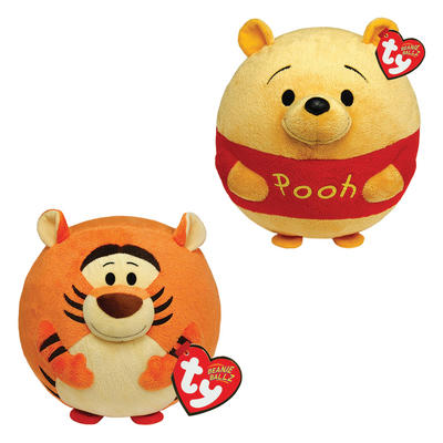 Ty Beanie Ballz Winnie the Pooh Plush Character Soft Toys 7""