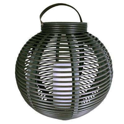 Large Round Rattan Solar Garden Lantern Flicker Candle Cole & Bright