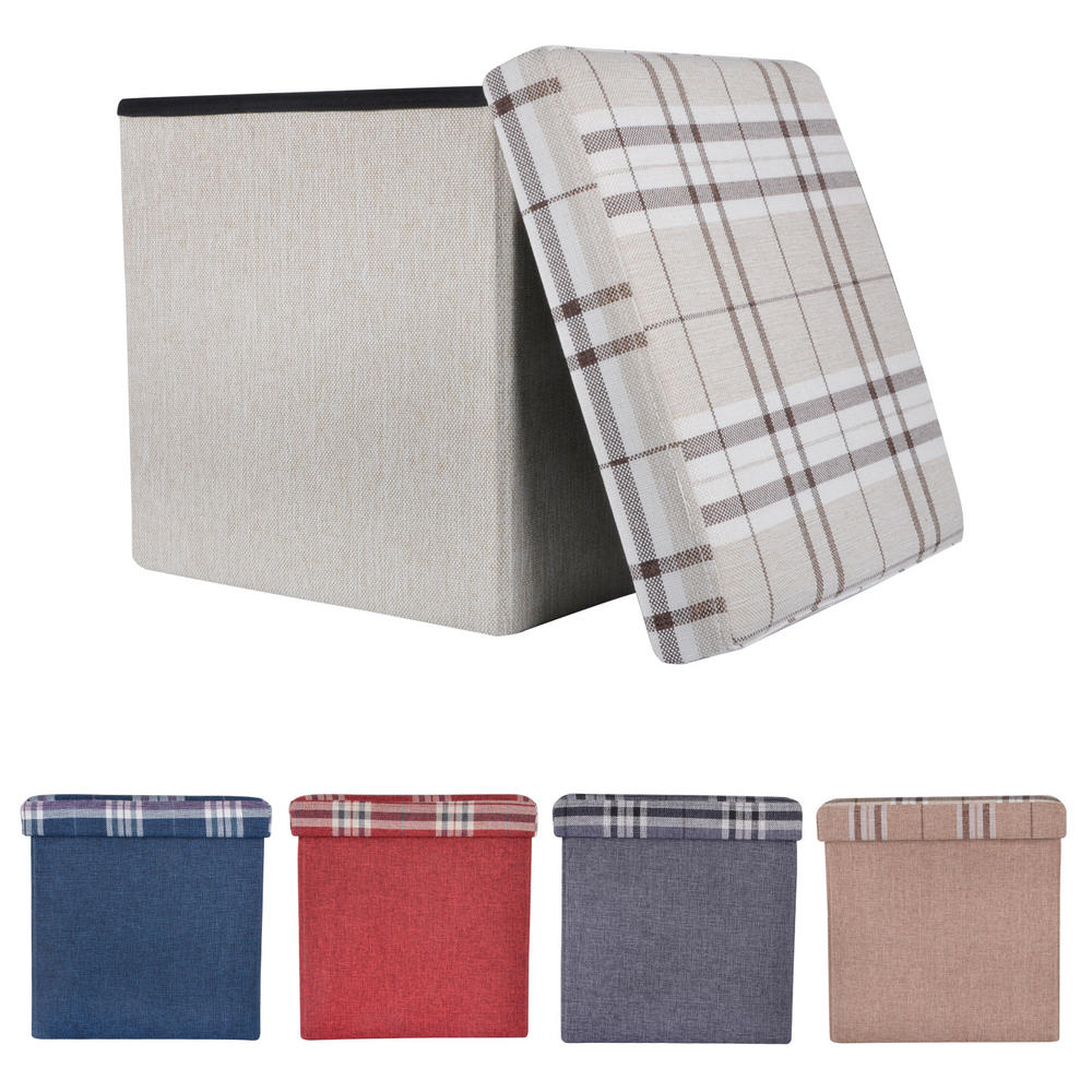 """Folding Check Pattern Storage Ottoman Cube With Foam Lid 15"""" Preview"""