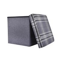 "Folding Check Pattern Storage Ottoman Cube With Foam Lid 15"" Thumbnail 5"