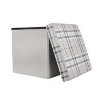 "Folding Check Pattern Storage Ottoman Cube With Foam Lid 15"" Thumbnail 2"