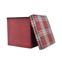 "Folding Check Pattern Storage Ottoman Cube With Foam Lid 15"" Thumbnail 4"