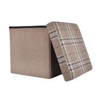 "Folding Check Pattern Storage Ottoman Cube With Foam Lid 15"" Thumbnail 6"