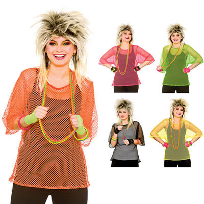 Ladies 80s Mesh Top Halloween Fancy Dress Up Party Accessory