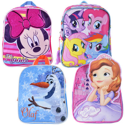 Kids Disney Character Backpack Sofia Olaf Minnie My Little Pony