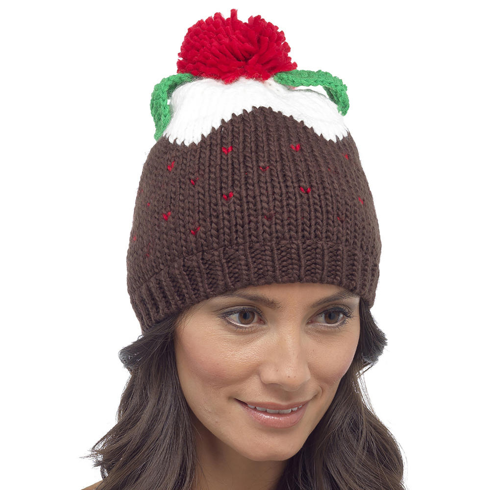 Womens novelty knitted christmas pudding hat pom beanie