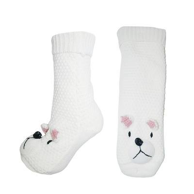 Womens Knitted Polar Bear Slipper Socks Sherpa Lining Non Slip Sole