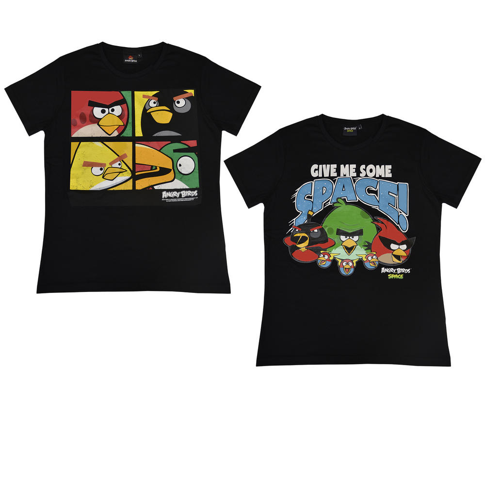 Angry birds mens ladies t shirt black original space designs for Original t shirt designs