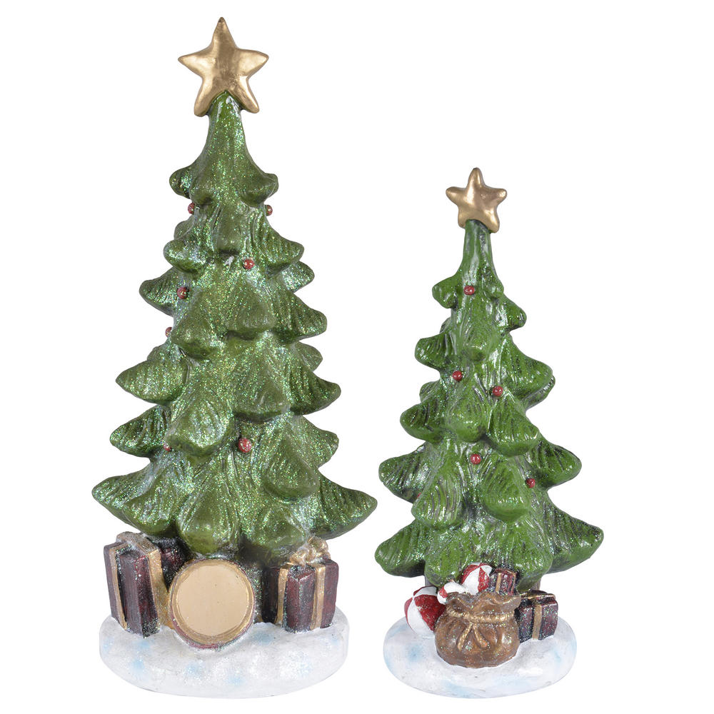 christmas tree sparkling resin figurine decoration snow presents star. Black Bedroom Furniture Sets. Home Design Ideas