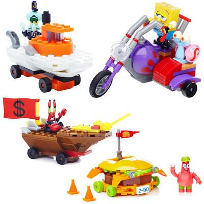 SpongeBob Squarepants Mega Bloks Racer Bike/Burger/Mr Krabs/Squidward