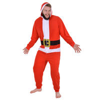 Mens Novelty Santa Claus Christmas Onesie Novelty Sleepwear