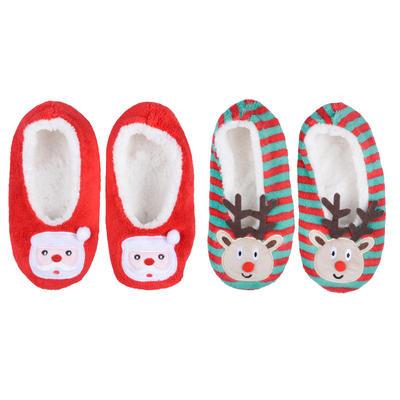 Womens Christmas Ballet Slippers Plush Cosy Santa Reindeer