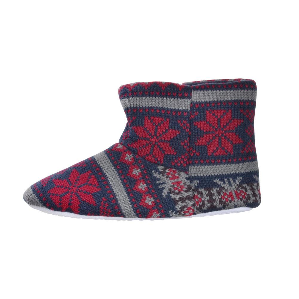Boys Slipper Boots Knitted Fair Isle Snowflake Pattern Navy/Grey