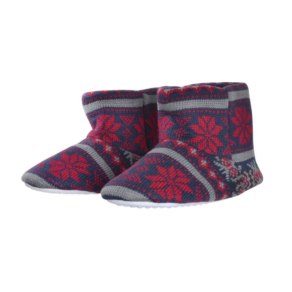 Boys Slipper Boots Knitted Fair Isle Snowflake Pattern Navy/Grey
