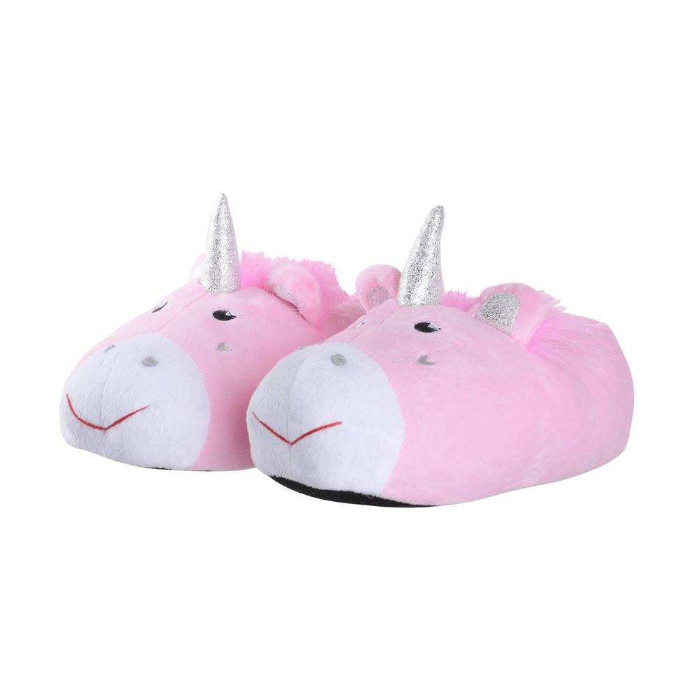 girls 3d unicorn slippers pink silver sparkle novelty kids. Black Bedroom Furniture Sets. Home Design Ideas