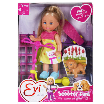 Evi Love Scooter Fun Doll Dog Skateboard Pooch Yellow Dress Girls Toy