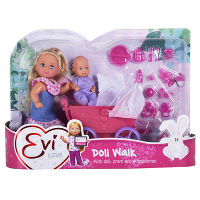 Evi Love Doll Walk Set Pink Pram Baby Outfit Soother Play Girls Toy