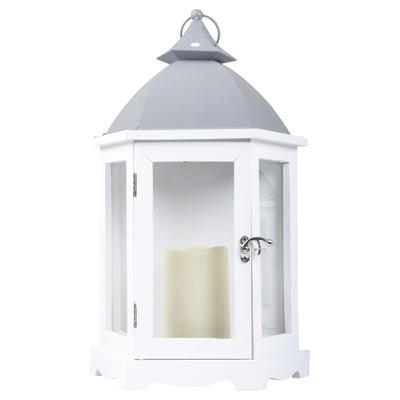 White Parisian Chic Wall Lantern LED Flicker Candle Home Garden