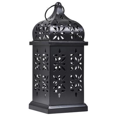 Eastern Style Black Solar LED Lantern Amber Flicker Home Garden