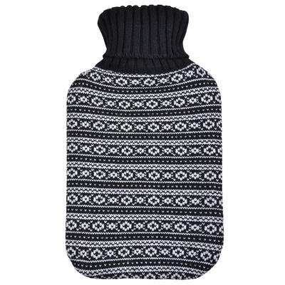 Large Hot Water Bottle Black & White Fairisle Knitted Cover