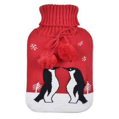 Large Hot Water Bottle Penguins Knitted Cover Red Pompoms