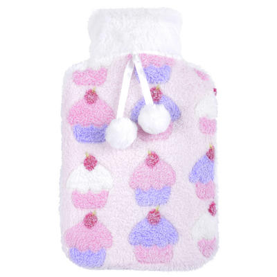 Large Hot Water Bottle Cupcakes Fleece Cover White Pompoms