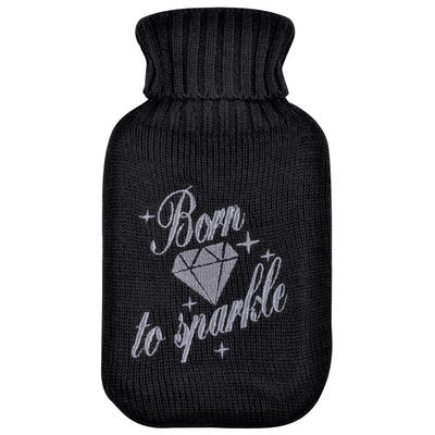 Mini Hot Water Bottle Black Born to Sparkle Knitted Cover