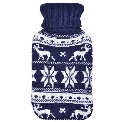 Mini Hot Water Bottle Navy & White Snowflakes Knitted Cover