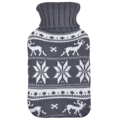 Mini Hot Water Bottle Grey & White Snowflakes Knitted Cover