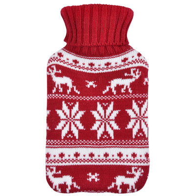 Mini Hot Water Bottle Red & White Snowflakes Knitted Cover