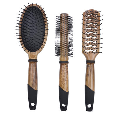 3pc Woodgrain Hair Brush Set Salon Curling Vent Styling Paddle