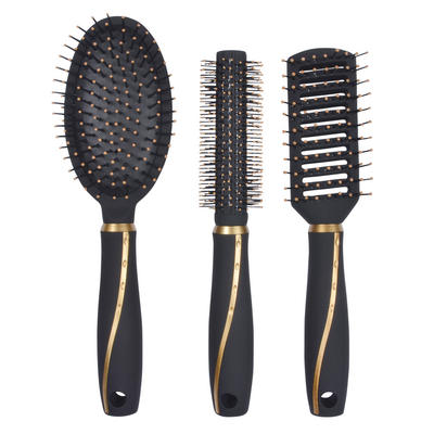 3pc Gold/Black Hair Brush Set Salon Curling Vent Styling Paddle