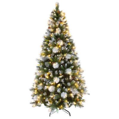 Luxury Pre Lit Artificial Christmas Tree LED Frosted Tips 6ft 7ft